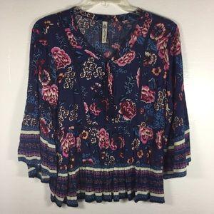 American Rag blue floral tunic blouse women XS